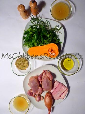Křepelka s čočkou a salátem z máslové dýně