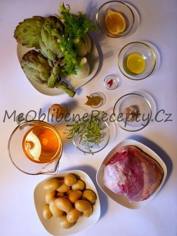 Jehněčí roláda s pečenými artyčoky, fenyklem a brambory