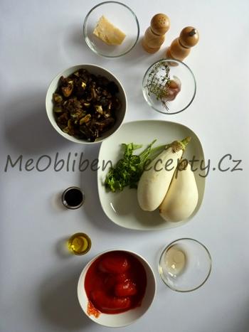 Houbové těstoviny s pečeným lilkem