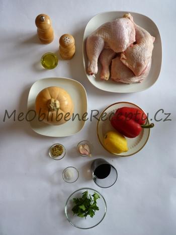 Kuřecí stehna pečená na máslové dýni