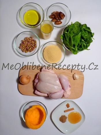 Kuře pečené na marocký způsob plněné kuskusem